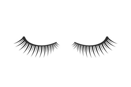 Eine schwarze Erweiterung mit zwei Wimpernikone auf weißem Hintergrund Vektorgrafik