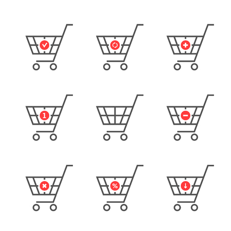 set of black thin line shopping cart logo Çizim