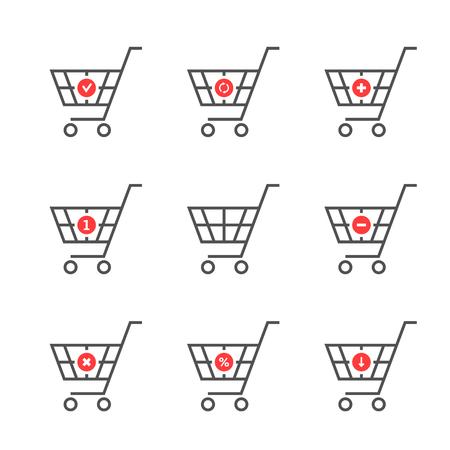 set of black thin line shopping cart logo Illustration