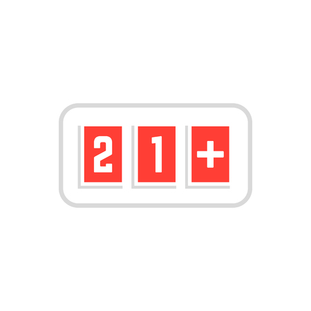 red simple 21 plus icon scoreboard frame on white Ilustração