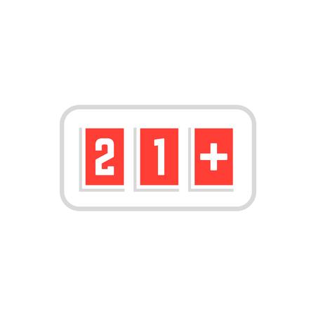 red simple 21 plus icon scoreboard frame on white Illustration