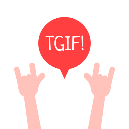 Hands up with TGIF logo like Thanks God It Is Friday; unusual flat style trend modern graphic design on white; concept of happy alcohol party with friends or satisfy harmful desires on week end