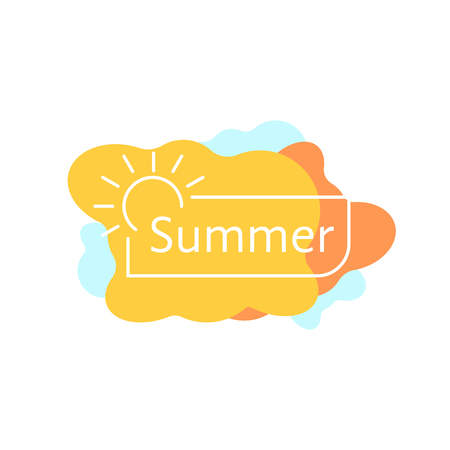 Simple summer badge on colored blobs.
