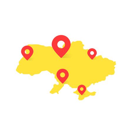 De gele kaart van de Oekraïne met rode speld op witte achtergrond. concept van tournee door Oost-Europa of het vinden van de juiste plaatsen. vlakke stijl trend modern logo grafisch gebied ontwerp Stock Illustratie