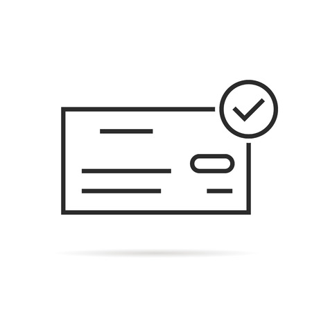 Thin line bank check icon like salary Illustration