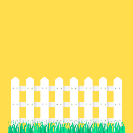 white fence garden on green grass. concept of decoration of countryside or fence from the neighbors Illustration