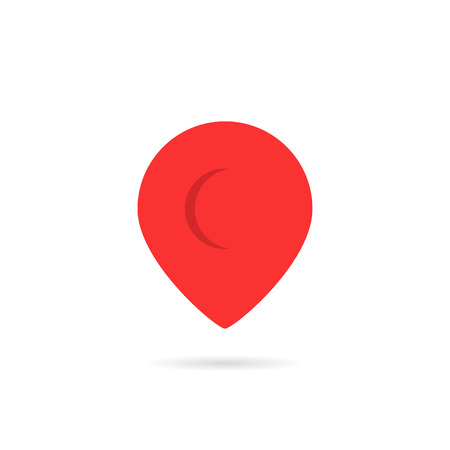 A red abstract geotag or map pin icon.
