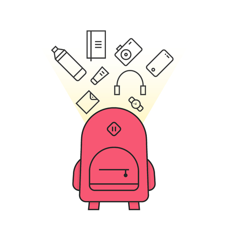 Pink backpack with personal items icon. Illustration