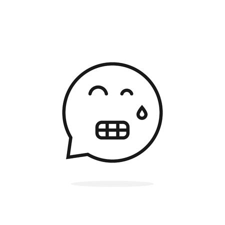 Thin line tense emoji speech bubble illustration.