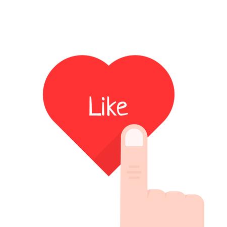 Finger pressing the red heart. Vettoriali