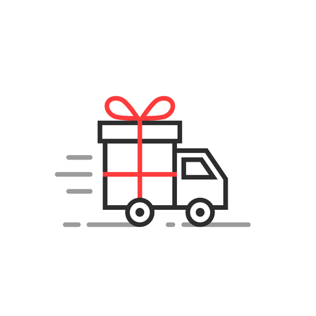 Delivery truck with gift box icon.