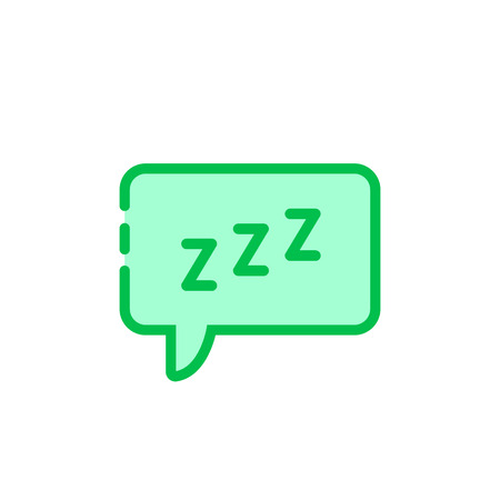 green cartoon speech bubble with zzz . simple flat style trend modern graphic art design isolated on white background. concept of snoring chat sticker and popup message like resting Illustration