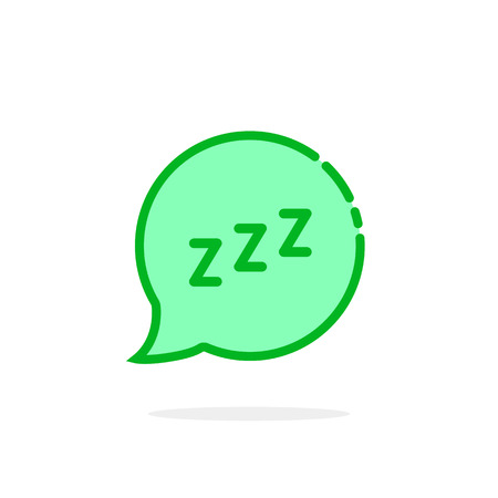 zzz icon like green cartoon speech bubble. concept of snoring chat sticker and popup resting message. simple flat style trend modern graphic art design isolated on white background