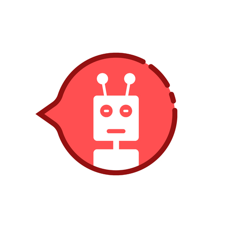 cartoon red speech bubble with chat bot