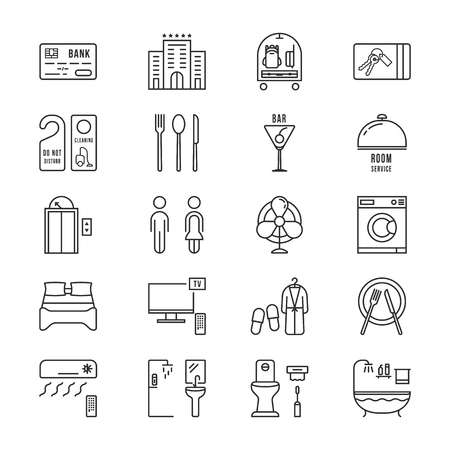 Thin line icons set hotel and rest Illustration