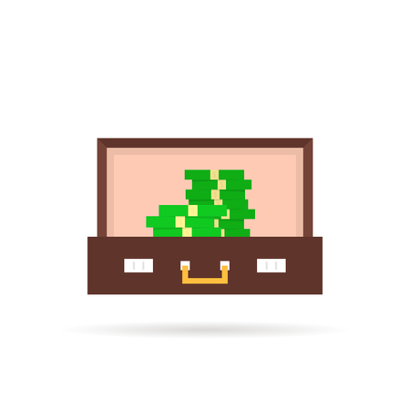 open suitcase with pile of money Illustration