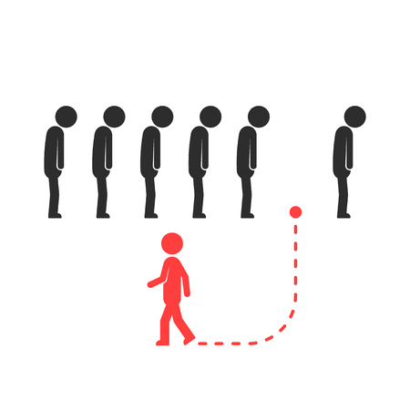 unique way for different people or leader Illustration