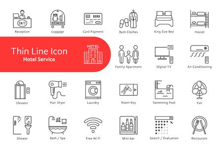 Cienka linia ikon dla życia w hotelu i domu Ilustracje wektorowe