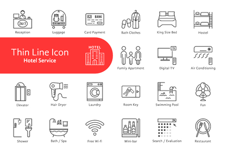 thin line icons set pour l & # 39 ; hôtel et la vie de la maison Vecteurs