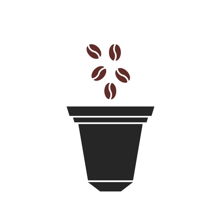 beans fall in coffee capsule icon