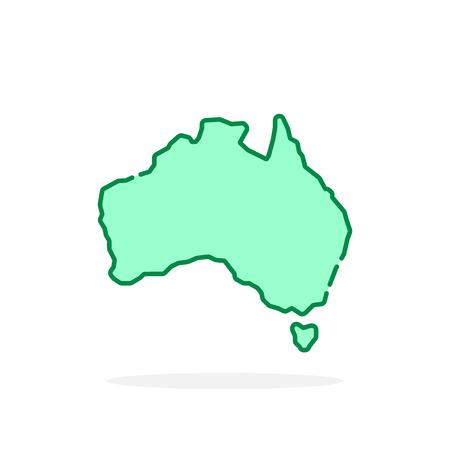 green cartoon thin line australia icon