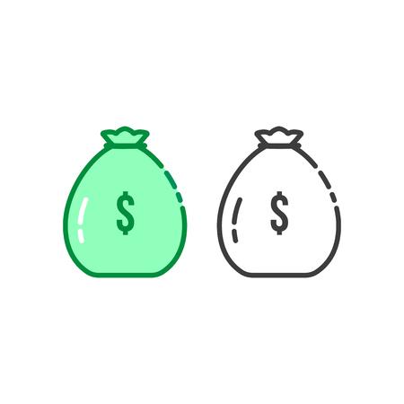 Thin line set of money bag logo