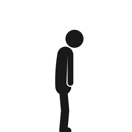 black stick figure like depression isolated on white