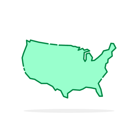 Green cartoon thin line usa icon