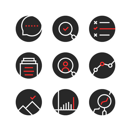 set of round assessment and report logo