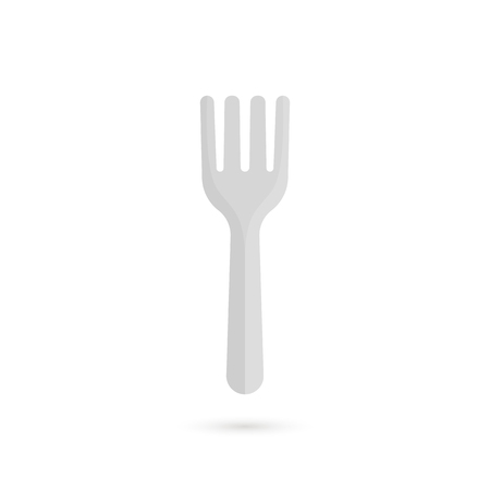 Silver fork icon with shadow