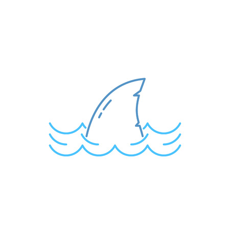 Simple thin line shark in wave icon