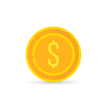 Golden dollar coin sign with shadow Illustration