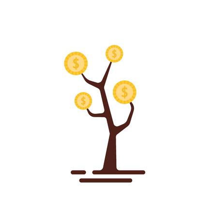 simple money tree logo isolated on white Illustration