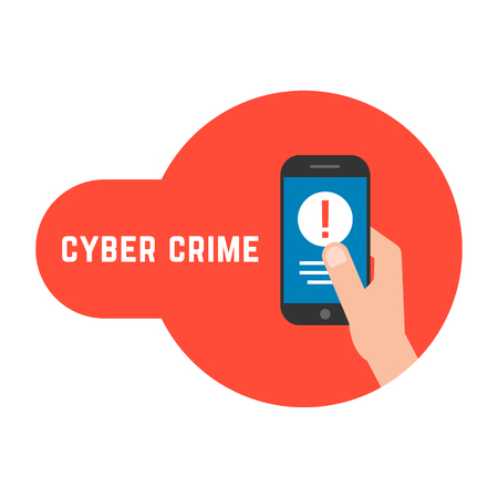 Cyber crime with locked phone in hand