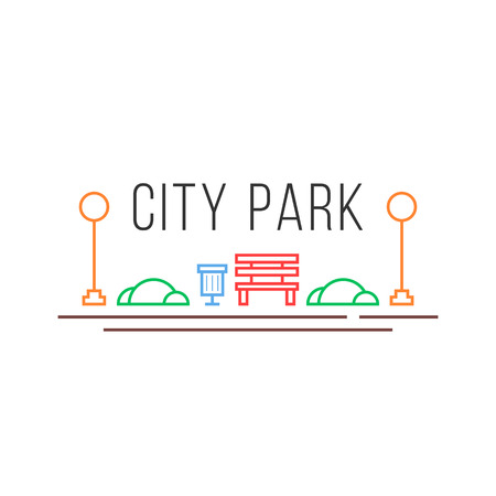 City park icon in linear style Illustration
