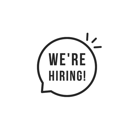 Black thin line we are hiring logo