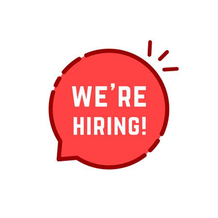 Red cartoon linear we are hiring logo