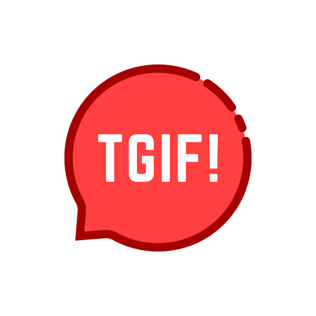 linear tgif speech bubble logo on white. concept of badge for messaging or sms and thanks god it is friday evening. flat style trend modern red logotype graphic art design isolated on white
