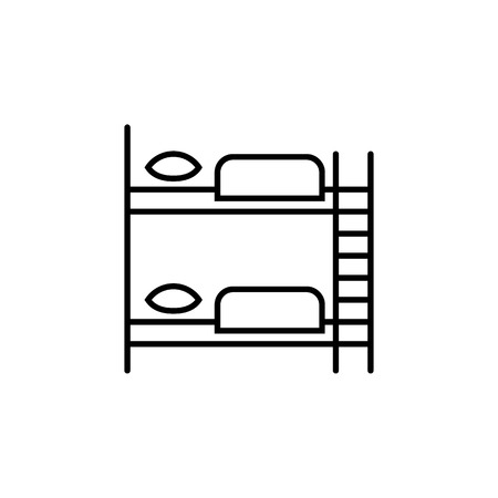 furniture for hostel bunk bed linear icon. concept of budget rest, saving money, space or time, elementary living conditions for travel. flat trend modern logotype graphic design on white background Vettoriali