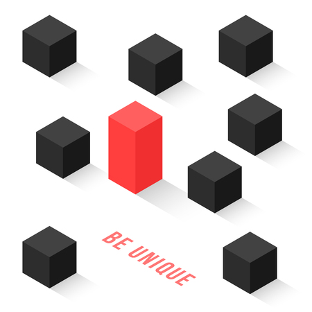 different isometric cubes like be unique  イラスト・ベクター素材