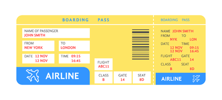 blue yellow air ticket by plane with text Stock Vector - 100681672