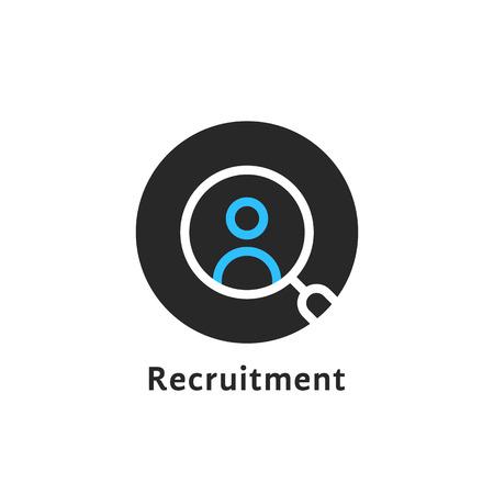 Round simple recruitment icon. Illustration