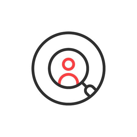Thin line round recruitment icon isolated on white background. Illustration