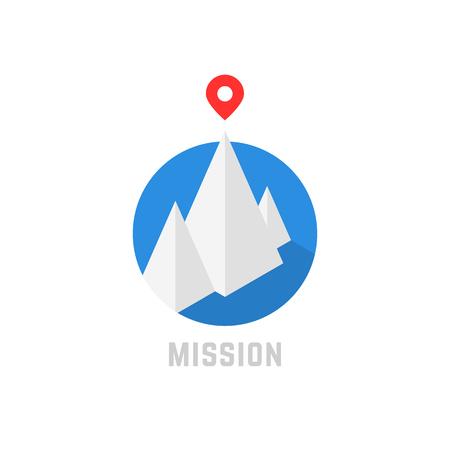 summit of isometric mountain like leadership logo