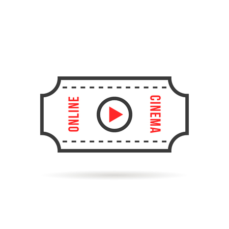thin line online cinema or movie ticket Illustration