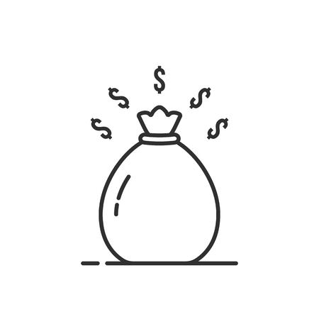 simple thin line black money bag icon Illustration