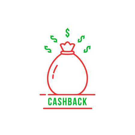 linear cashback logo like cash bag