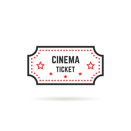 simple linear cinema ticket icon on white