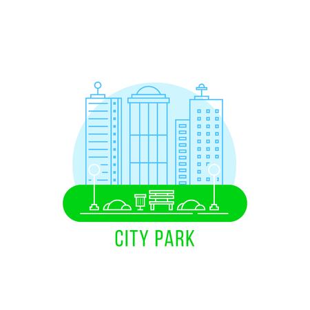 city park with thin line landscape