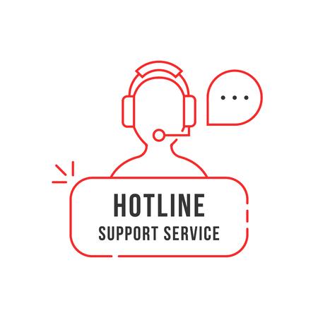 red thin line hotline support service logo Illustration